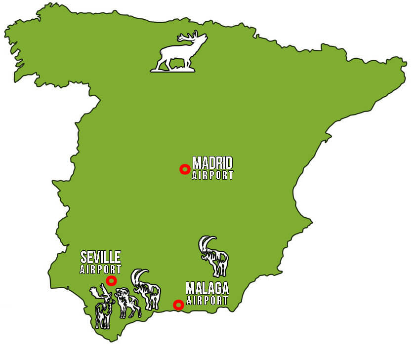 Spain map hunting ibex ronda southeastern